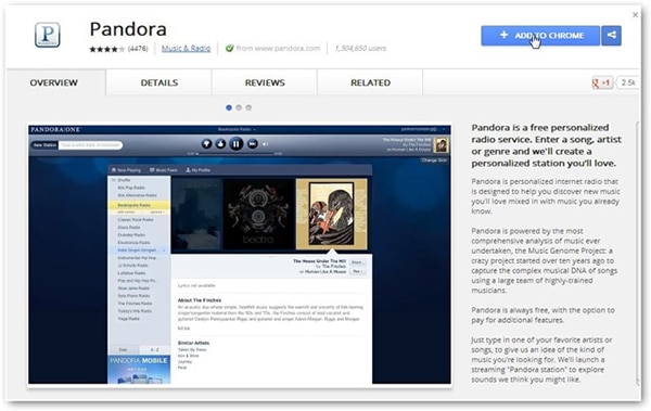 pandora chrome extension