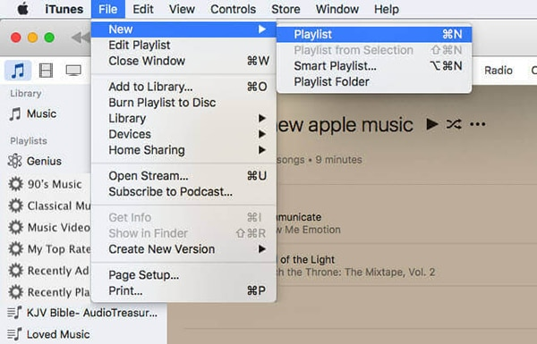 create new itunes playlist